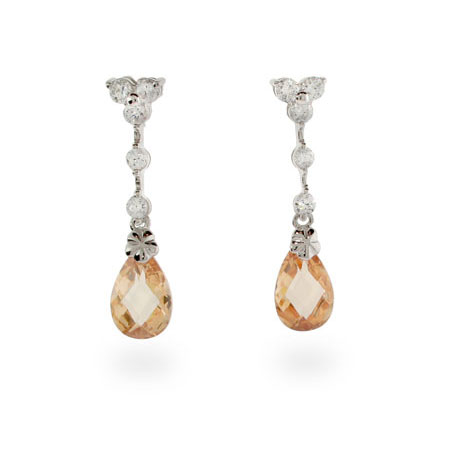Halle Berry Inspired Champagne CZ Sterling Silver Earrings