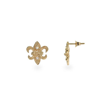 Fleur De Lis CZ Gold Vermeil Stud Earrings