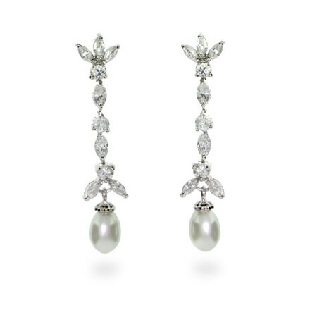 Elegant Pearl and Diamond CZ Drop Sterling Silver Earrings