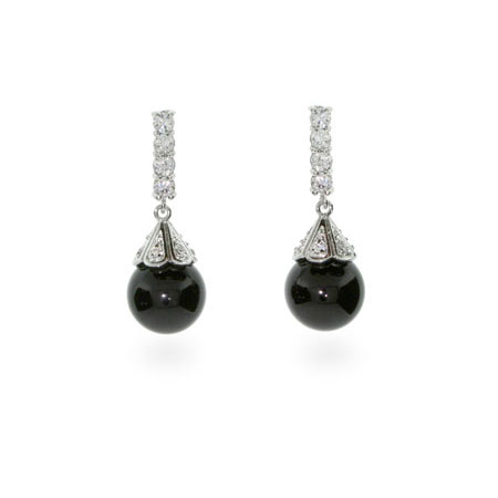 Black Onyx and CZ Elegant Ball Drop Earrings