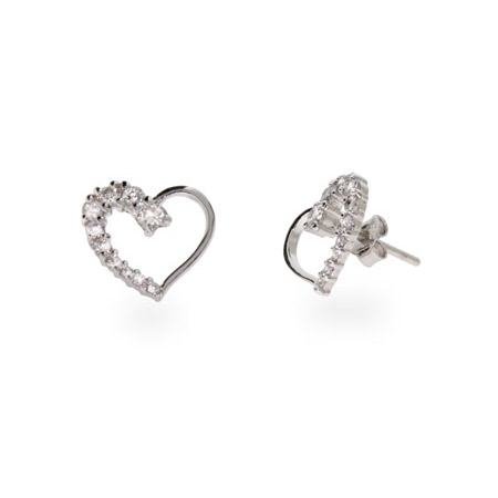 Sterling Silver CZ Heart Journey Earrings