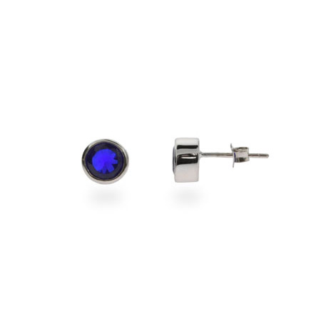 Sapphire Blue Cubic Zirconia Bezel Set Stud Earrings