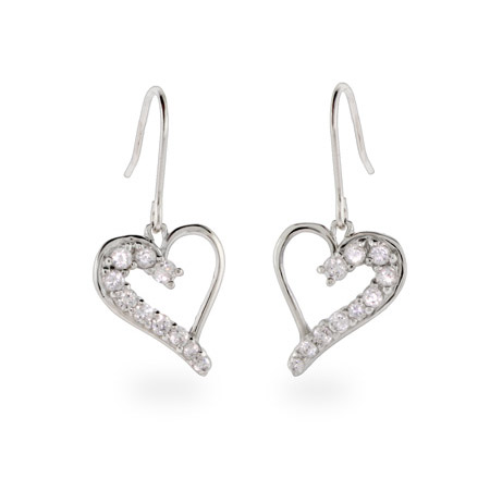 Sterling Silver CZ Dangle Journey Stencil Heart Earrings