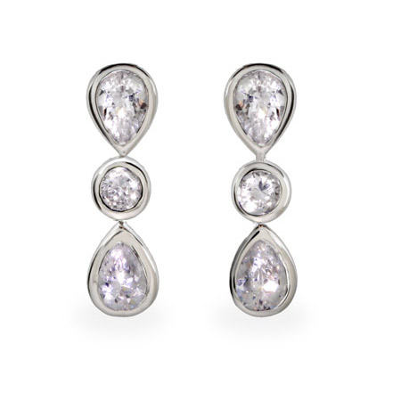 Tiffany Inspired Sparkling Sway Peardrop CZ Earrings