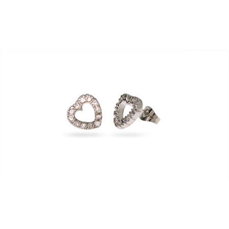 Sterling Silver CZ Stencil Heart Stud Earrings