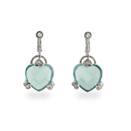 Designer Style Blue Topaz CZ Dangling Heart Earrings