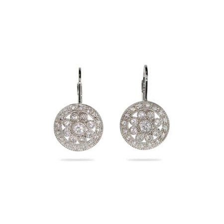 Sparkling Vintage Style Round Drop CZ Leverback Earrings