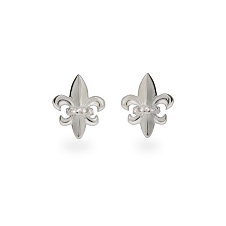 Sterling Silver Fleur de Lis Earrings with CZ Accents
