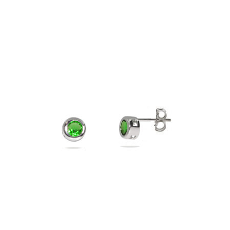 Emerald CZ Bezel Set Stud Earrings - Clearance Final Sale