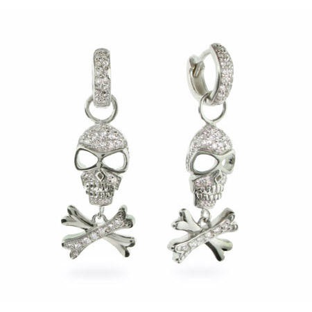 Sterling Silver CZ Huggy Skull & Crossbones Earrings