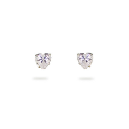 4 mm Cubic Zirconia Heart Stud Earrings