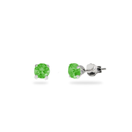 Sterling Silver 4 mm Emerald Cubic Zirconia Stud Earrings
