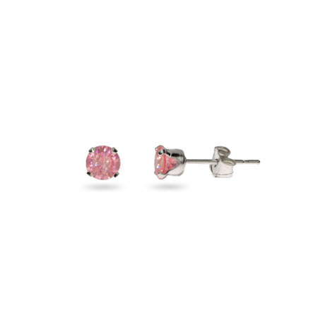 Sterling Silver 4 mm Pink Cubic Zirconia Stud Earrings