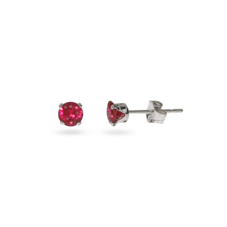 Sterling Silver 4 mm Ruby Cubic Zirconia Stud Earrings