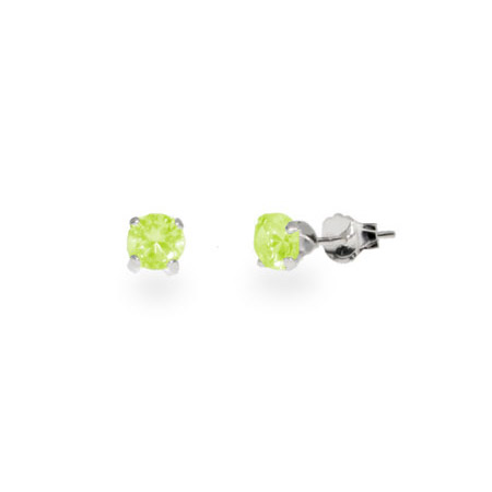 Sterling Silver 4 mm Peridot Cubic Zirconia Stud Earrings