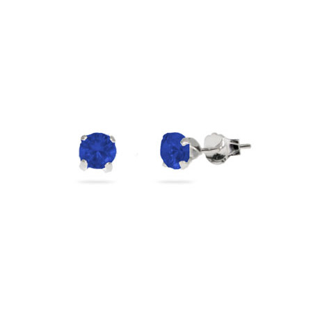 Sterling Silver 4 mm Sapphire Cubic Zirconia Stud Earrings