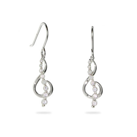Musical G Clef Sparkling CZ Sterling Silver Journey Earrings