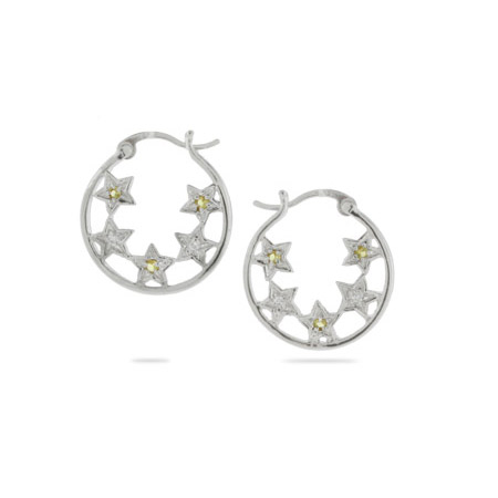 Canary and Clear CZ Sterling Silver Star Hoop Earrings