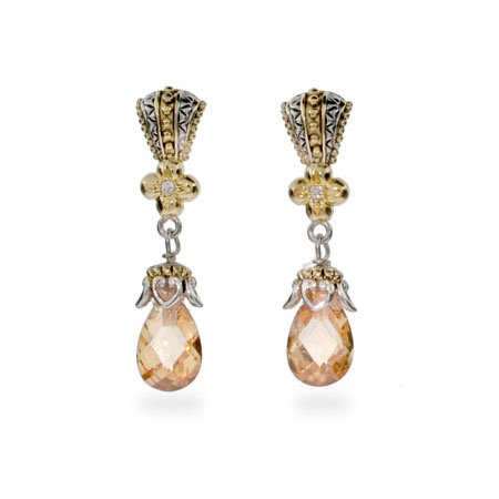 Designer Style Vintage Champagne CZ Peardrop Earrings