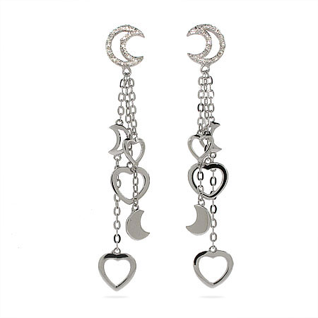 Tiffany Inspired Moon and Hearts Sterling Silver Drop Earrings