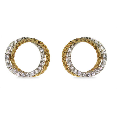 Sparkling Two Tone Cubic Zirconia Cable Circle Earrings