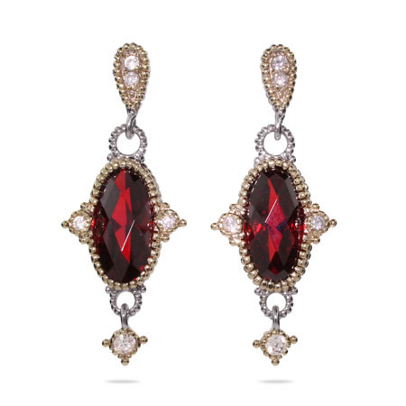 Designer Style Oval Cut Garnet CZ Vintage Drop Earrings