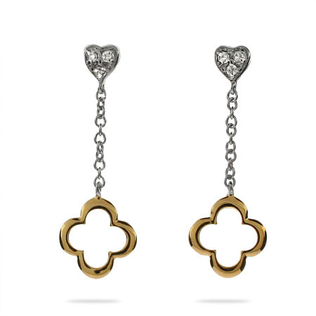 Designer Style Gold and Silver Heart Drop Clover Earrings