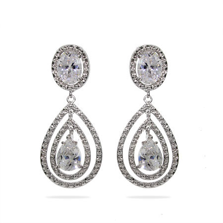 Veronica's Glamorous Triple Teardrop CZ Earrings