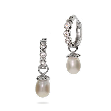 Tiffany Style CZ Huggy Hoop Earrings with Heart Cap Pearl Drop