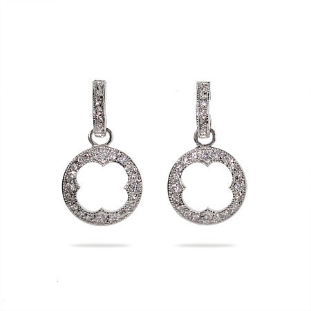 Designer Style Clover Cutout Pave CZ Earrings