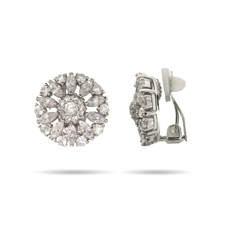 Judith's Sparkling Sterling Silver CZ Clip-On Earrings