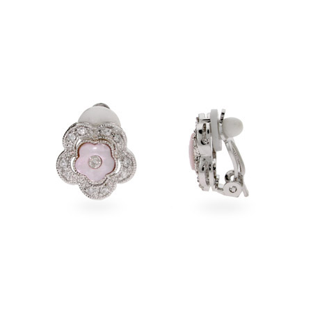 Martha's Pink and CZ Flower Clip-On Earrings