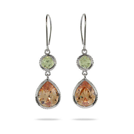 Champagne and Peridot CZ Dangling Earrings