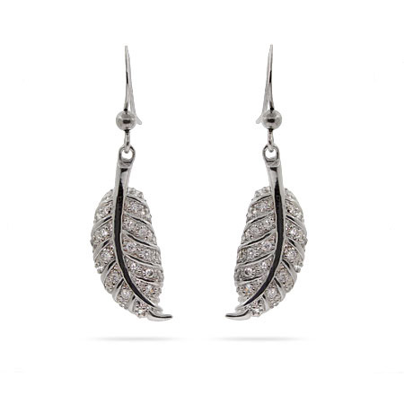 Sterling Silver Pave CZ Dangling Leaf Earrings