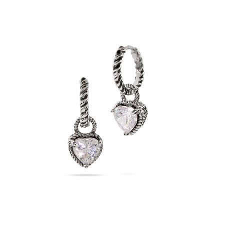 Designer Inspired Petite Cable Huggies with CZ Heart Drop