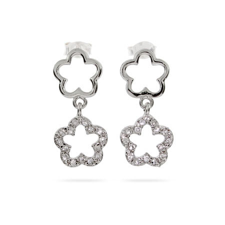 Designer Style Double Clover Drop CZ Earrings