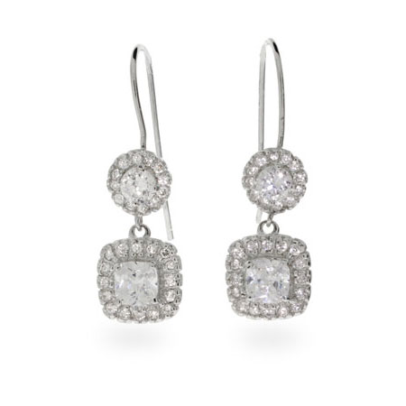 Anne's Cushion Cut CZ Dangle Earrings