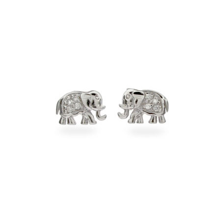 Sterling Silver and CZ Elephant Earrings