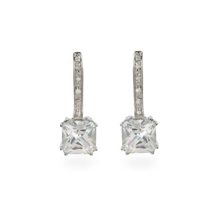 Glamorous Princess Cut CZ Leverback Drop Earrings