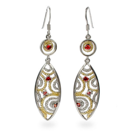 Designer Inspired Ruby CZ Cable Dangle Earrings