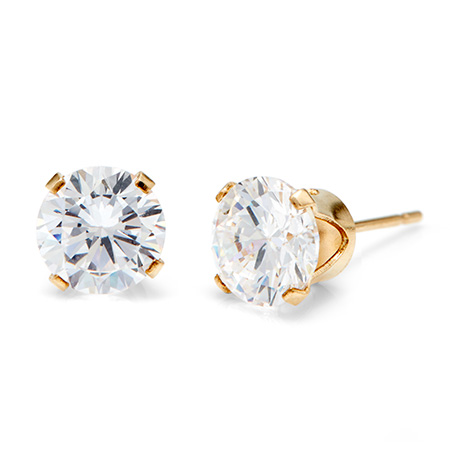 14K Gold Filled Round Diamond CZ 8mm Stud Earrings