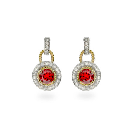 Designer Inspired Sterling Silver Earrings with Gold and Garnet CZs