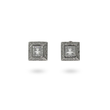 Mens Sterling Silver Square Cut CZ Earrings