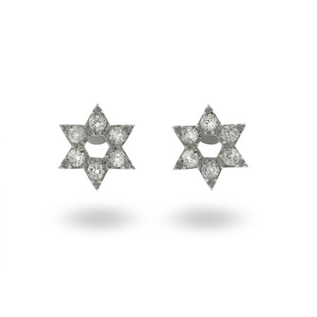 Sterling Silver and CZ Star of David Earrings