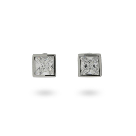 Square Bezel Set CZ Stud Earrings