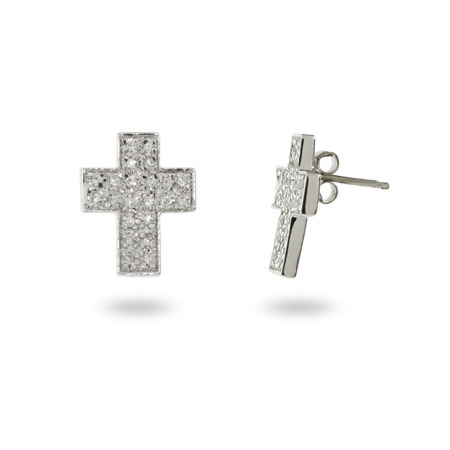 Sterling Silver and Pave CZ Cross Stud Earrings