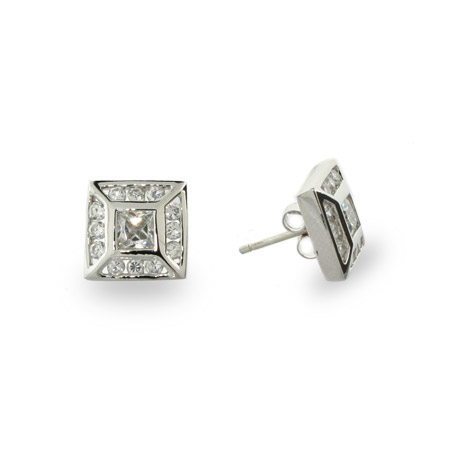 Large Sterling Silver Brilliant Cut Square CZ Studs