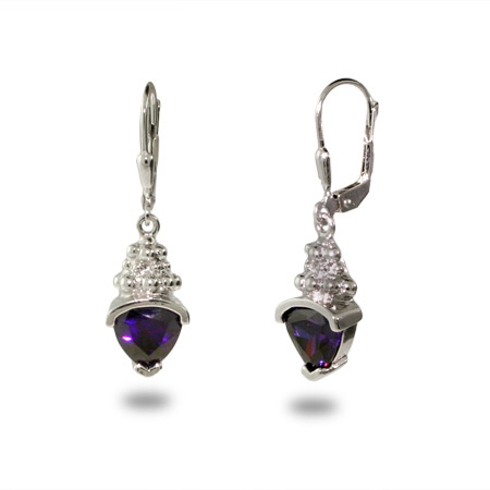 Designer Inspired Triangle Drop Amethyst CZ Earrings