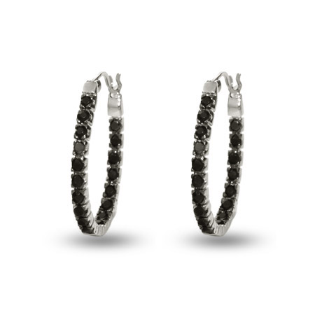 Petite Black Cz Inside Out Oval Hoop Earrings