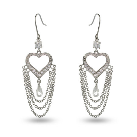 Jennifers Red Carpet Heart Shaped CZ Chandelier Earrings